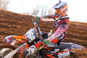 Freshman Aaron Bowers races his dirt bike on his family's track in Amarillo.
