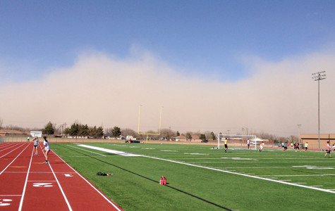 A wave of dirt engulfs Amarillo Tuesday afternoon causing practice and softball games to be cancelled.