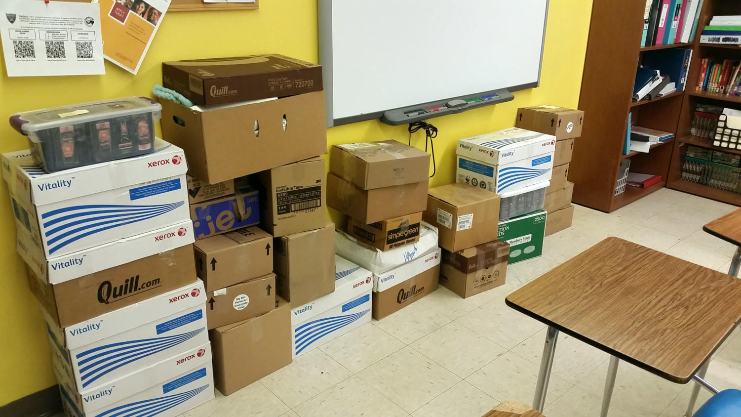 More than 3,800 hygiene items are boxes and ready to be donated to the Guyon Saunders Resource Center.