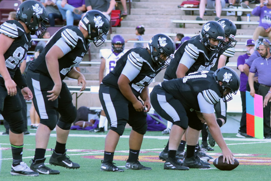 The Randall football team lines up against Canyon High School during the Sept. 6 game at Kimbrough Stadium.