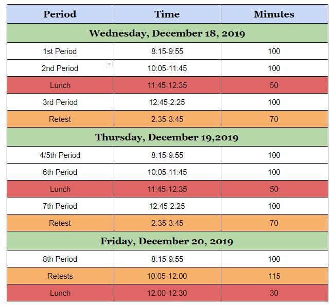 Fall Semester Exam Schedule