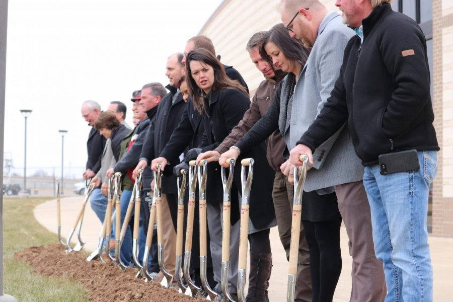 CISD board members and administration break ground on the Randall High expansion project Dec. 16.