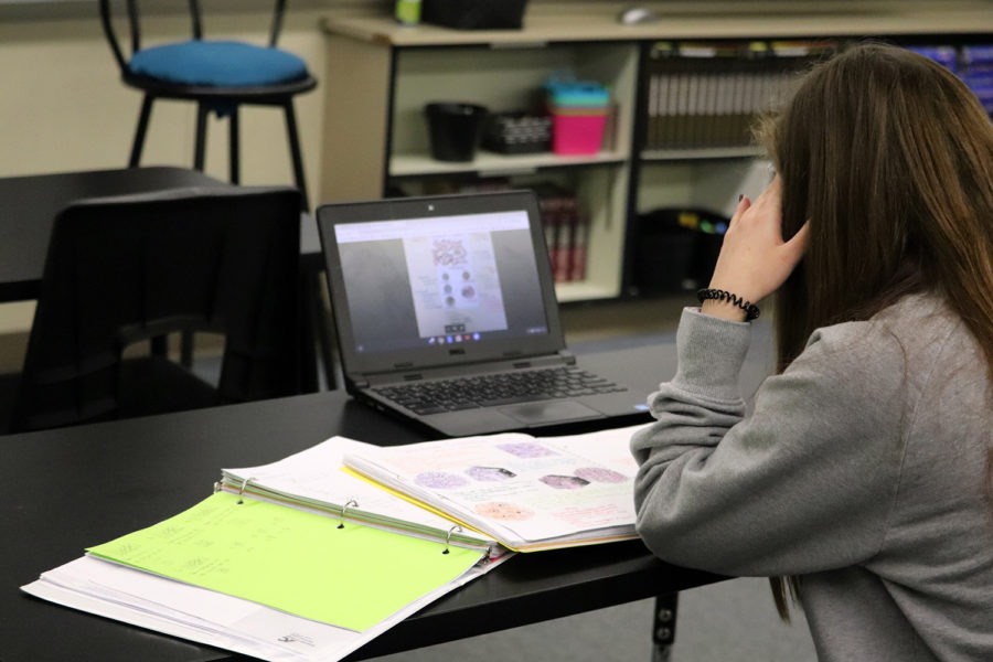 Students use online tools for classroom learning.