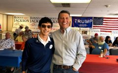 Sophomore Adrian Avila stands with Congressional Candidate Ronny Jackson at Jackson's campaign headquarters.