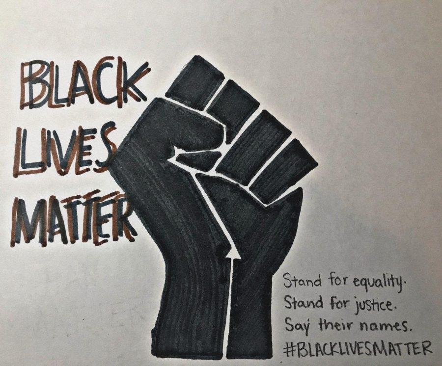 Senior, Mariam Alashmawi, drew the symbol representing Black Lives Matter. The fist symbolizes groups of people that have been oppressed in a discriminatory behavior(s) taking a stand to end racism.