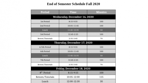 Schedule for Upcoming Fall 2020 Semester Test Week