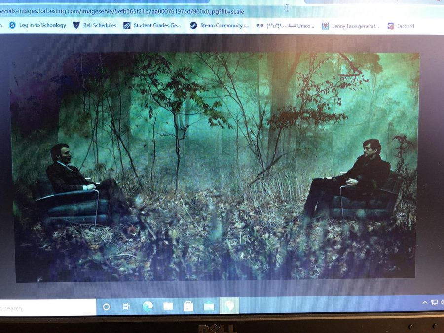 Will Graham and Hannibal talking in a imaginary forest