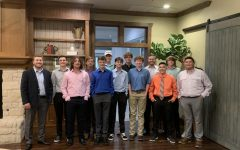 The golf team gathers for their end of year banquet.