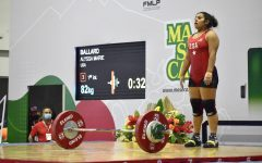 Senior weightlifter Alyssa Ballard prepares to lift during the August 2021 Pan-American competition in Mexico.